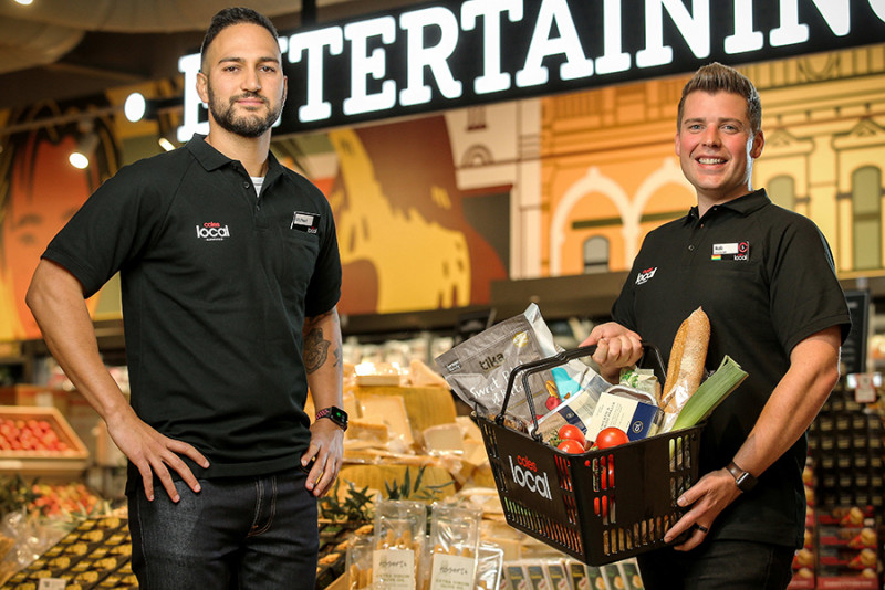 Head of Coles Local Michael Fahd with Coles Local Store Manger Rob More